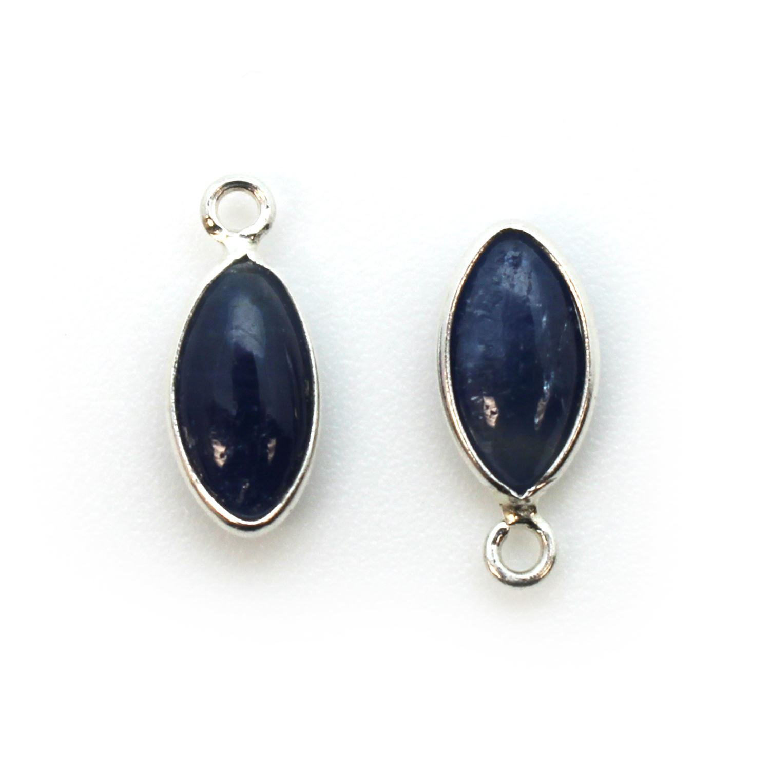Bezel Charm Pendant - Sterling Silver Charm - Natural Blue Sapphire - Tiny Marquise Shape -6x13mm