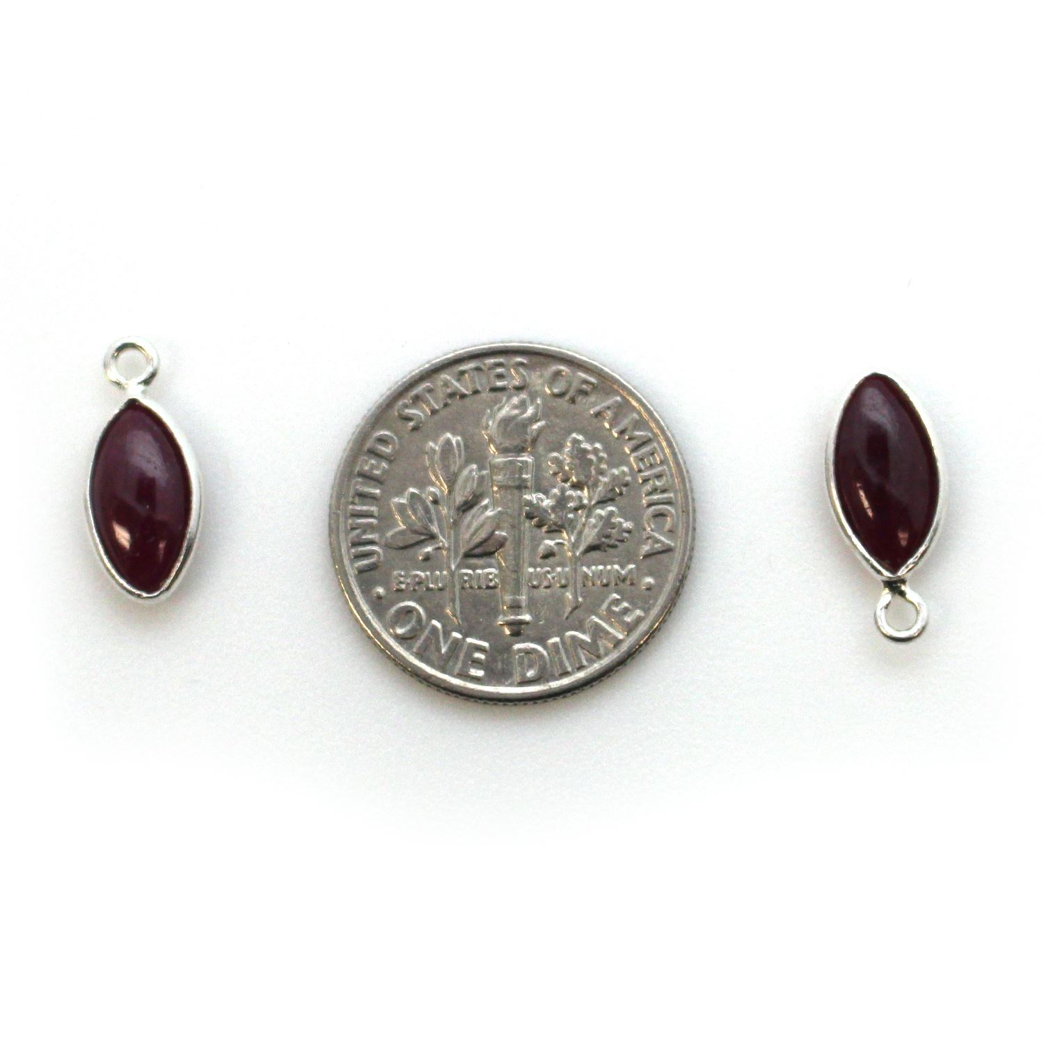 Bezel Charm Pendant - Sterling Silver Charm - Natural Ruby - Tiny Marquise Shape -6x13mm
