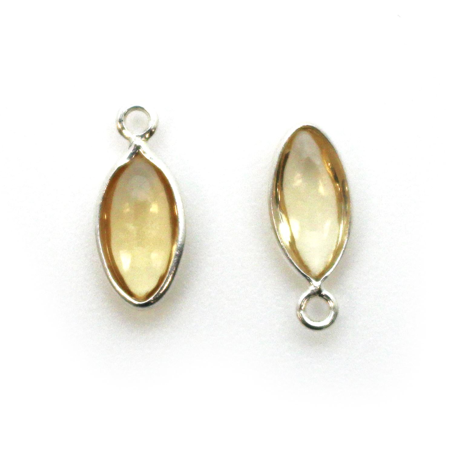 Bezel Charm Pendant - Sterling Silver Charm - Natural Citrine- Tiny Marquise Shape -6x13mm