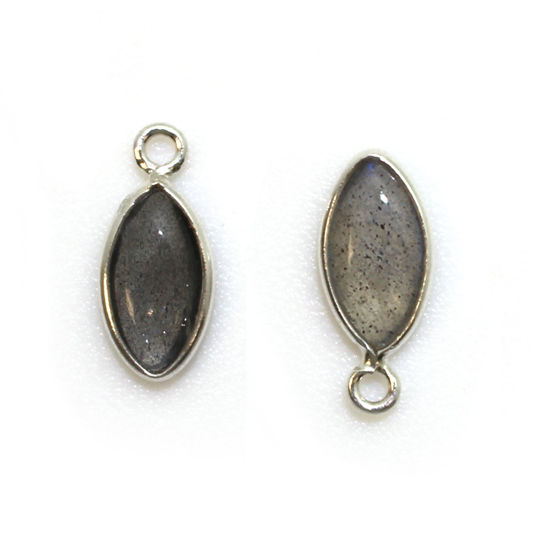 Bezel Charm Pendant - Sterling Silver Charm - Natural Labradorite - Tiny Marquise Shape -6x13mm