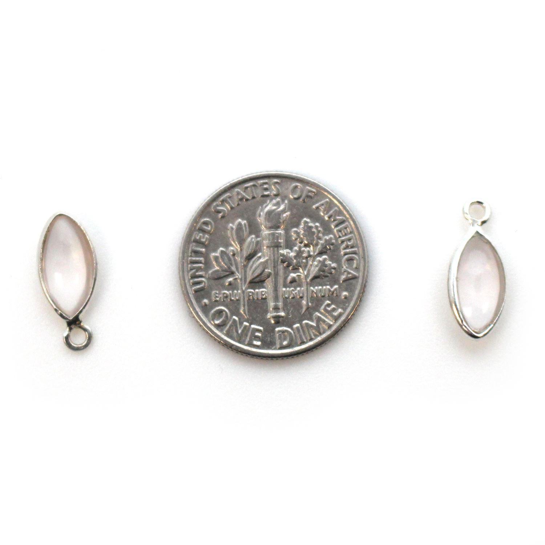 Bezel Charm Pendant - Sterling Silver Charm - Natural Rose Quartz - Tiny Marquise Shape -6x13mm