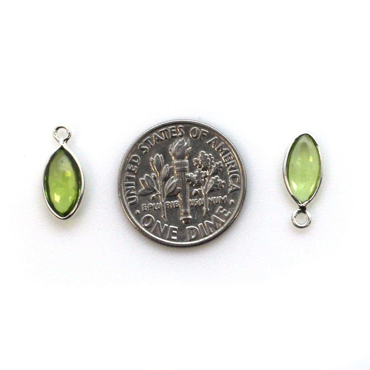 Bezel Charm Pendant - Sterling Silver Charm - Natural Peridot - Tiny Marquise Shape -6x13mm