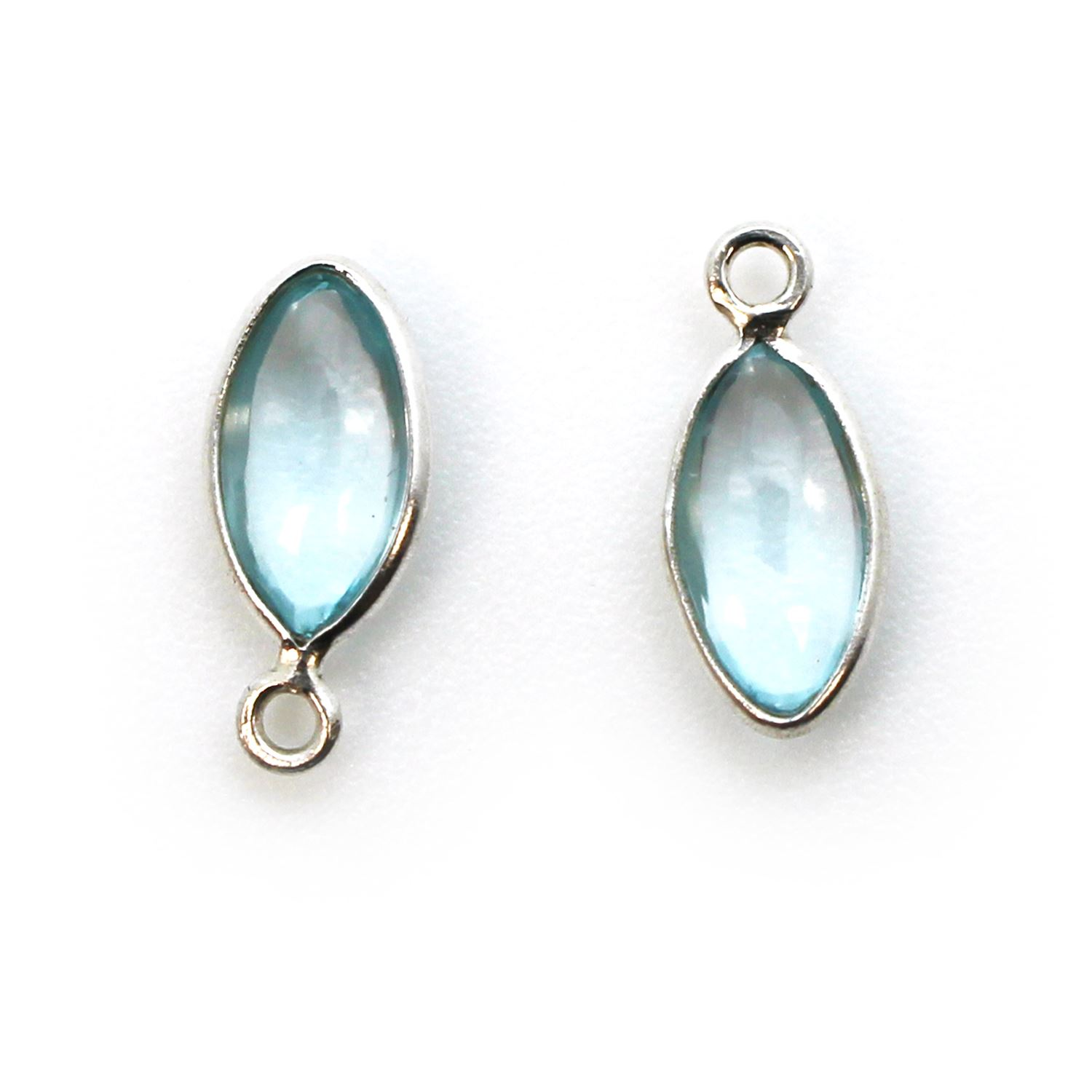 Bezel Charm Pendant - Sterling Silver Charm - Natural Sky Blue Topaz - Tiny Marquise Shape -6x13mm