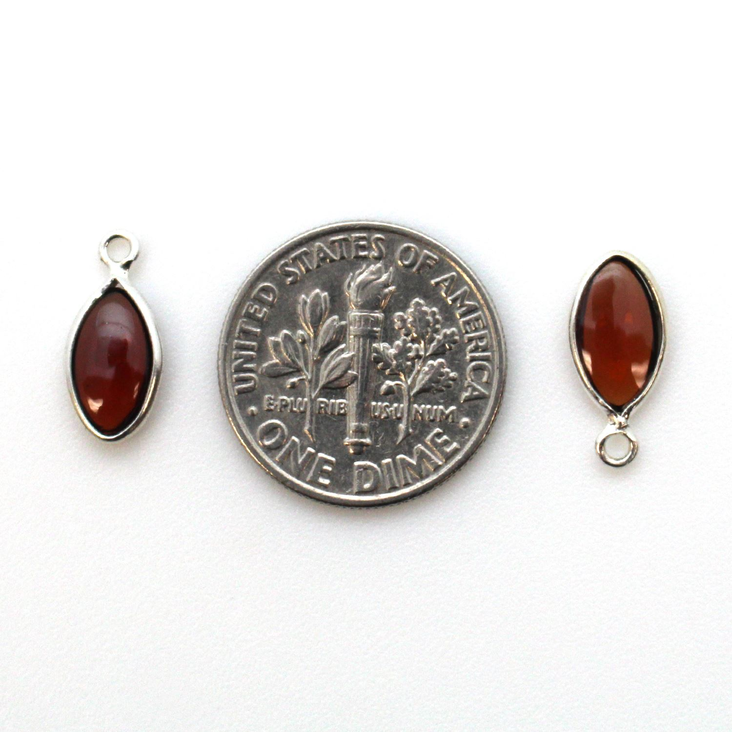 Bezel Charm Pendant - Sterling Silver Charm - Natural Garnet - Tiny Marquise Shape -6x13mm