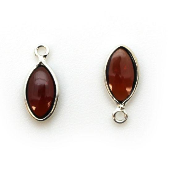 Bezel Charm Pendant - Sterling Silver Charm - Natural Garnet - Tiny Marquise Shape -6x13mm