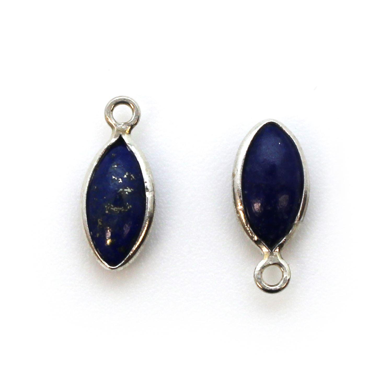 Bezel Charm Pendant - Sterling Silver Charm - Natural Lapis Lazuli - Tiny Marquise Shape -6x13mm