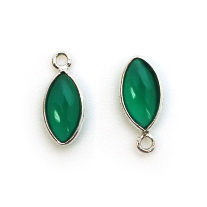 Bezel Charm Pendant - Sterling Silver Charm - Natural Green Onyx - Tiny Marquise Shape -6x13mm