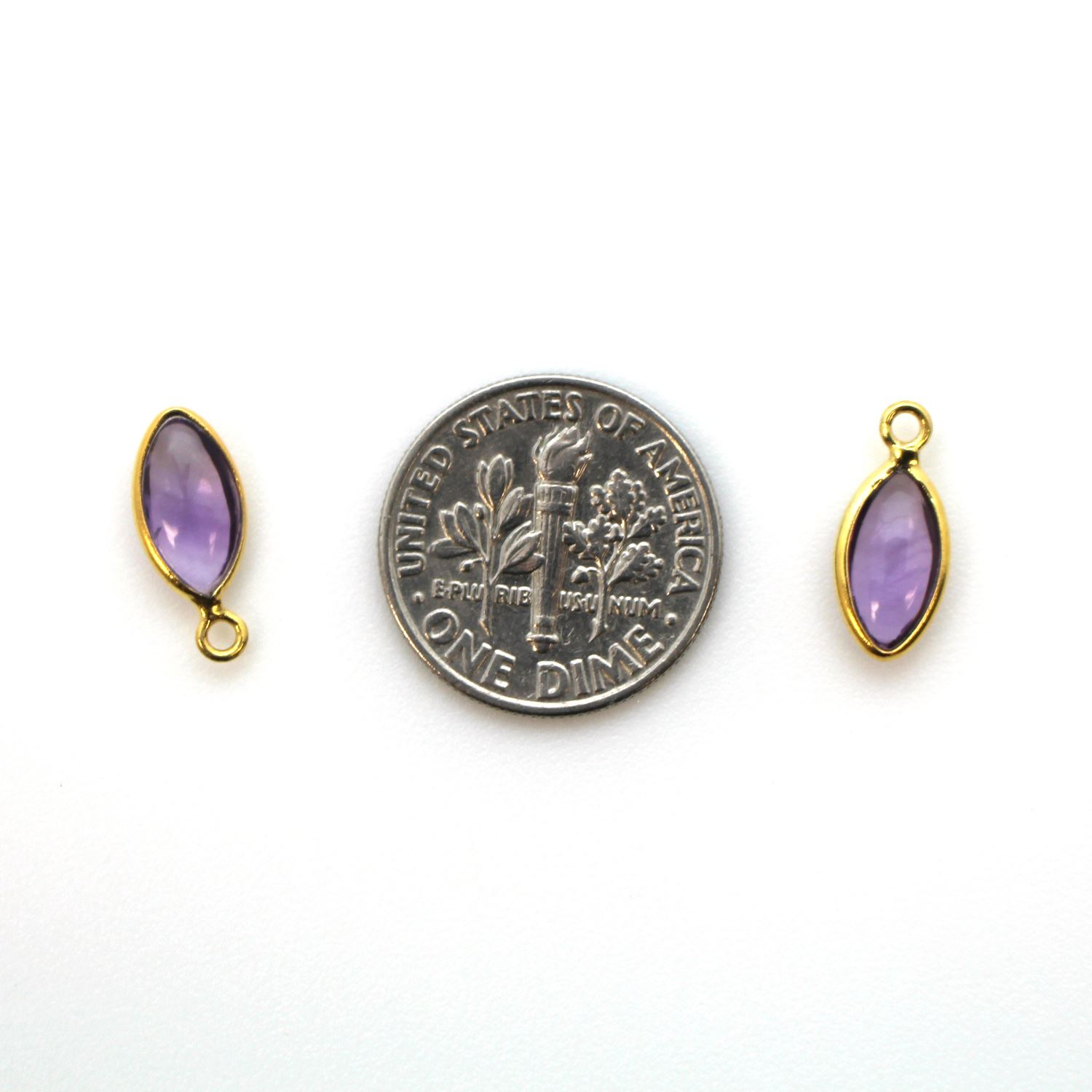Bezel Charm Pendant - Gold Plated Sterling Silver Charm - Natural Amethyst - Tiny Marquise Shape -6x13mm