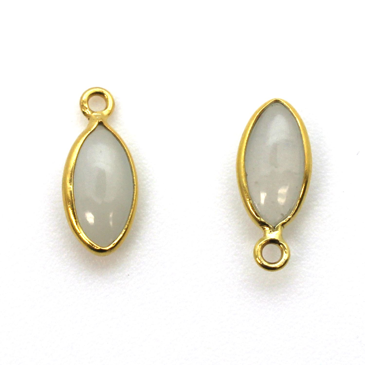 Bezel Charm Pendant - Gold Plated Sterling Silver Charm - Natural Moonstone - Tiny Marquise Shape -6x13mm