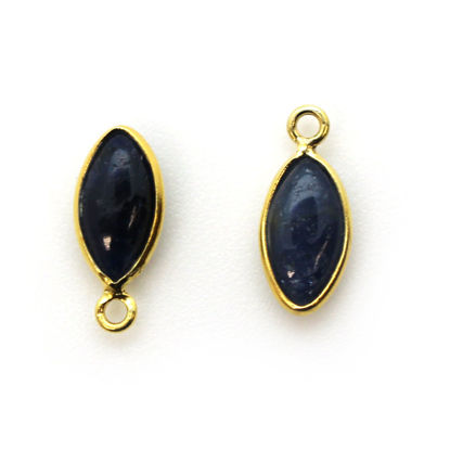 Bezel Charm Pendant - Gold Plated Sterling Silver Charm - Natural Blue Sapphire - Tiny Marquise Shape -6x13mm