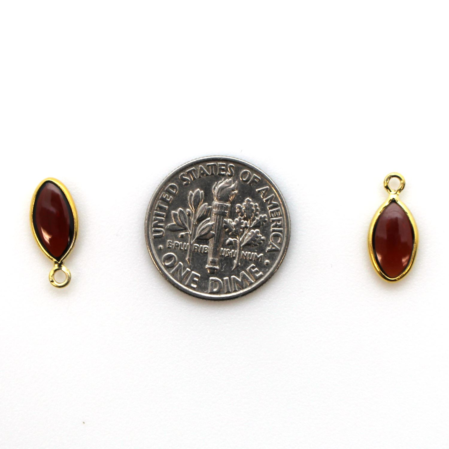 Bezel Charm Pendant - Gold Plated Sterling Silver Charm - Natural Garnet - Tiny Marquise Shape -6x13mm
