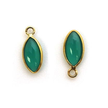 Bezel Charm Pendant - Gold Plated Sterling Silver Charm - Natural Green Onyx - Tiny Marquise Shape -6x13mm