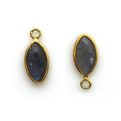 Bezel Charm Pendant - Gold Plated Sterling Silver Charm - Natural Labradorite - Tiny Marquise Shape -6x13mm