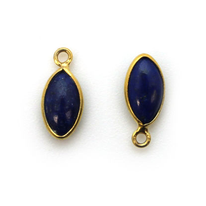 Bezel Charm Pendant - Gold Plated Sterling Silver Charm - Natural Lapis Lazuli - Tiny Marquise Shape -6x13mm