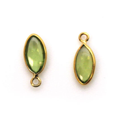Bezel Charm Pendant - Gold Plated Sterling Silver Charm - Natural Peridot - Tiny Marquise Shape -6x13mm