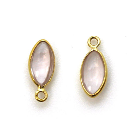 Bezel Charm Pendant - Gold Plated Sterling Silver Charm - Natural Rose Quartz - Tiny Marquise Shape -6x13mm