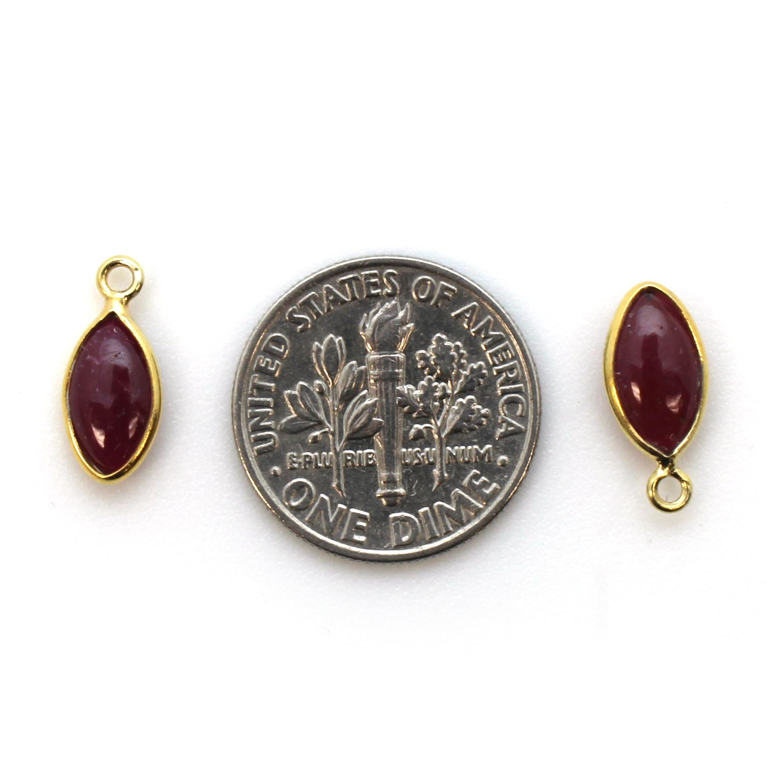 Bezel Charm Pendant - Gold Plated Sterling Silver Charm - Natural Ruby - Tiny Marquise Shape -6x13mm