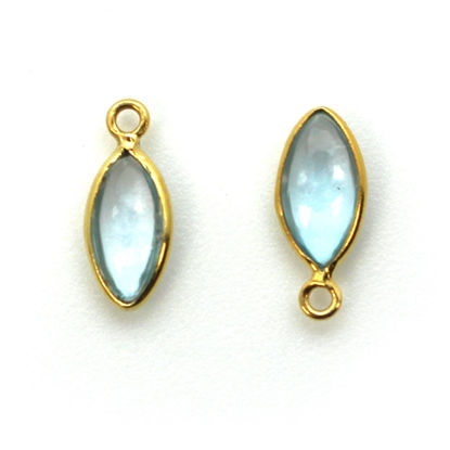 Bezel Charm Pendant - Gold Plated Sterling Silver Charm - Natural Sky Blue Topaz - Tiny Marquise Shape -6x13mm