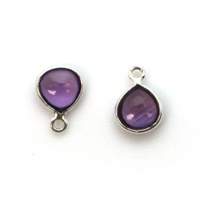 Bezel Charm Pendant - Sterling Silver Charm - Natural Amethyst - Tiny Heart Shape -7mm