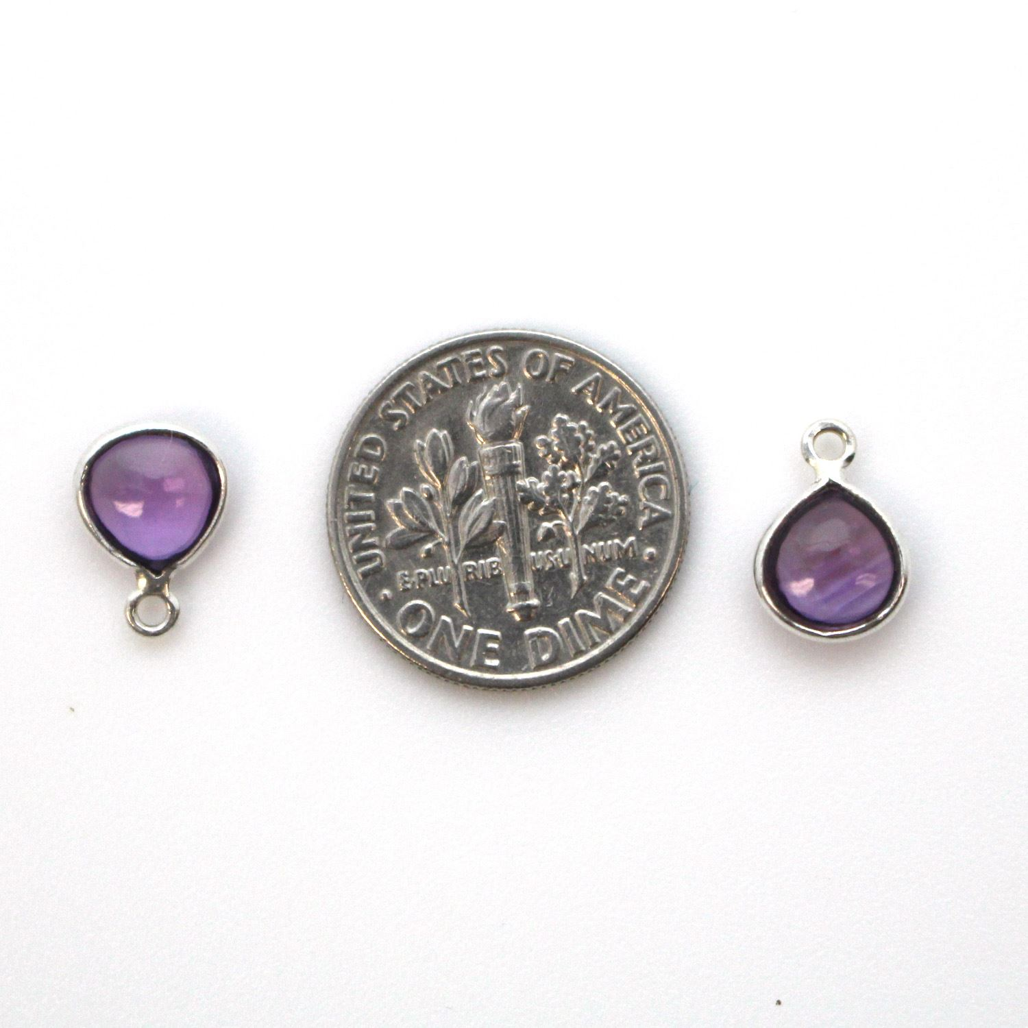 Bezel Charm Pendant - Sterling Silver Charm - Natural Amethyst - Tiny Heart Shape -7mm