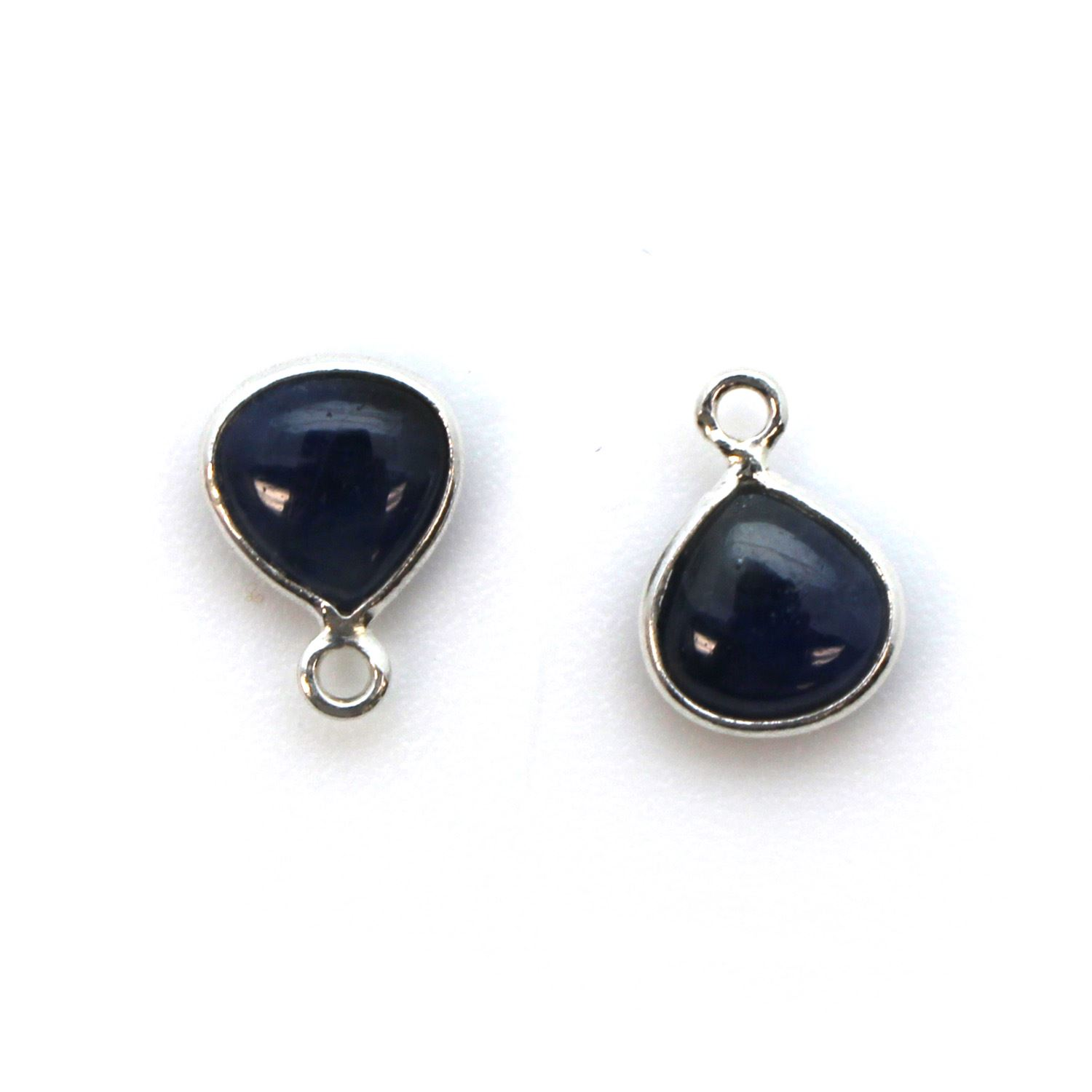 Bezel Charm Pendant - Sterling Silver Charm - Natural Blue Sapphire - Tiny Heart Shape -7mm