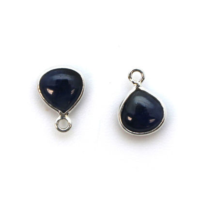 Bezel Charm Pendant - Sterling Silver Charm - Natural Blue Sapphire - Tiny Heart Shape -7mm
