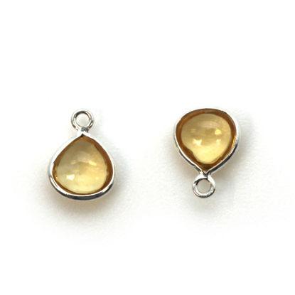 Bezel Charm Pendant - Sterling Silver Charm - Natural Citrine - Tiny Heart Shape -7mm