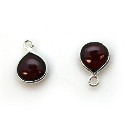 Bezel Charm Pendant - Sterling Silver Charm - Natural Garnet - Tiny Heart Shape -7mm