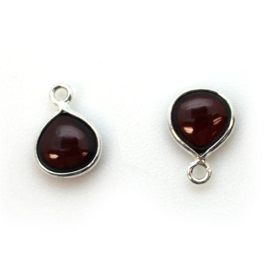 Bezel Charm Pendant - Sterling Silver Charm - Natural Garnet - Tiny Heart Shape -7mm