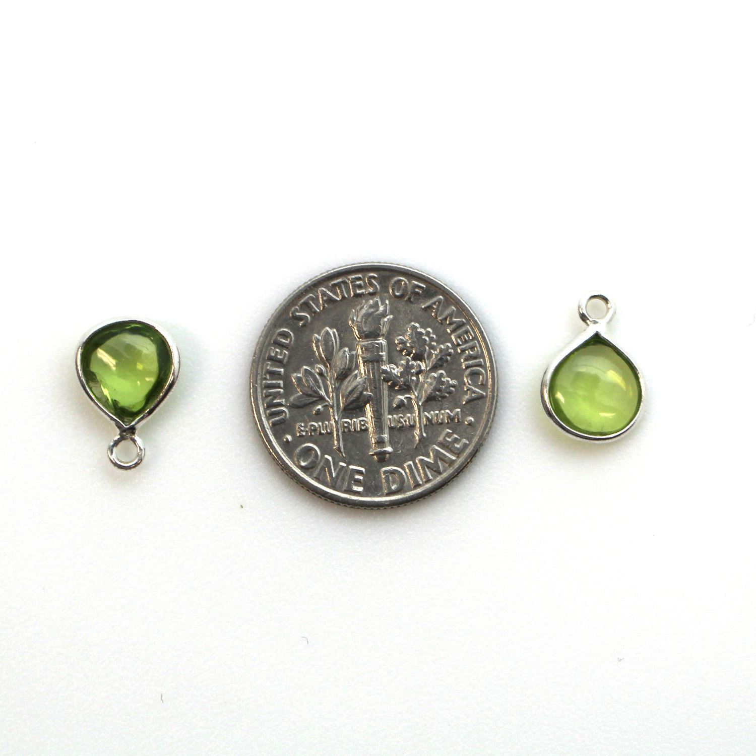 Bezel Charm Pendant - Sterling Silver Charm - Natural Peridot - Tiny Heart Shape -7mm