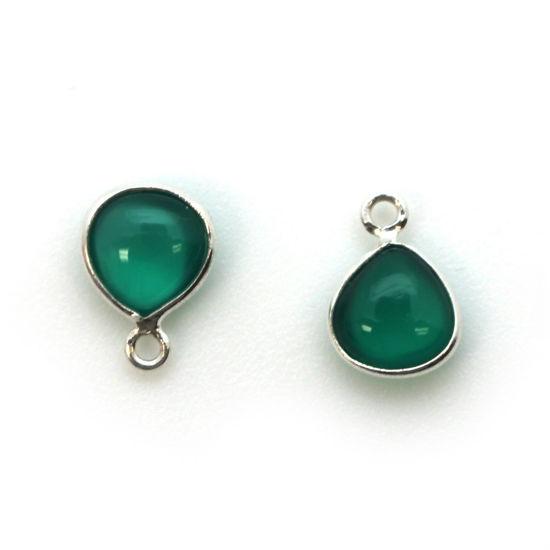 Bezel Charm Pendant - Sterling Silver Charm - Natural Green Onyx - Tiny Heart Shape -7mm