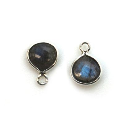 Bezel Charm Pendant - Sterling Silver Charm - Natural Labradorite - Tiny Heart Shape -7mm