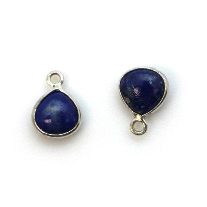 Bezel Charm Pendant - Sterling Silver Charm - Natural Lapis Lazuli - Tiny Heart Shape -7mm