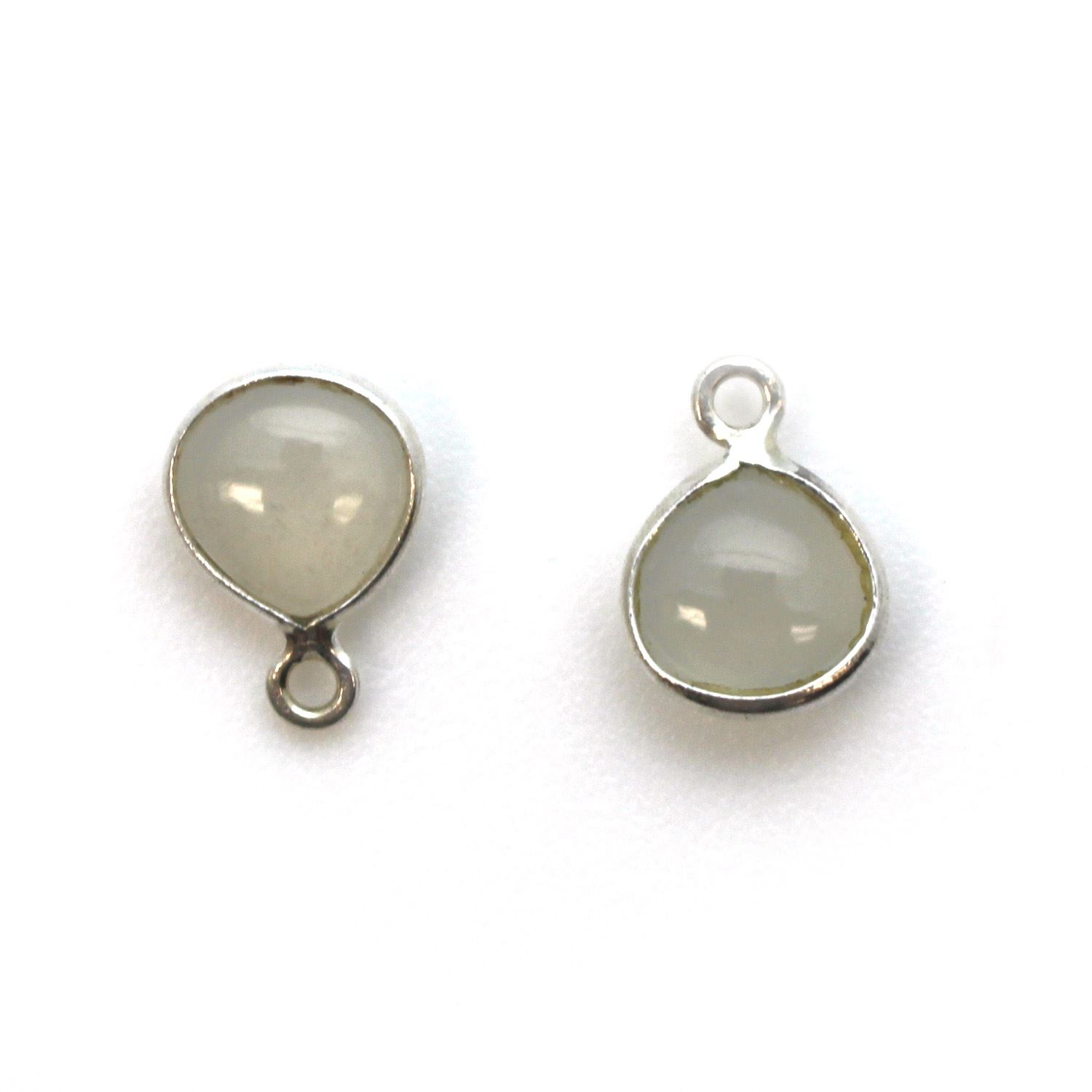 Bezel Charm Pendant - Sterling Silver Charm - Natural Moonstone - Tiny Heart Shape -7mm