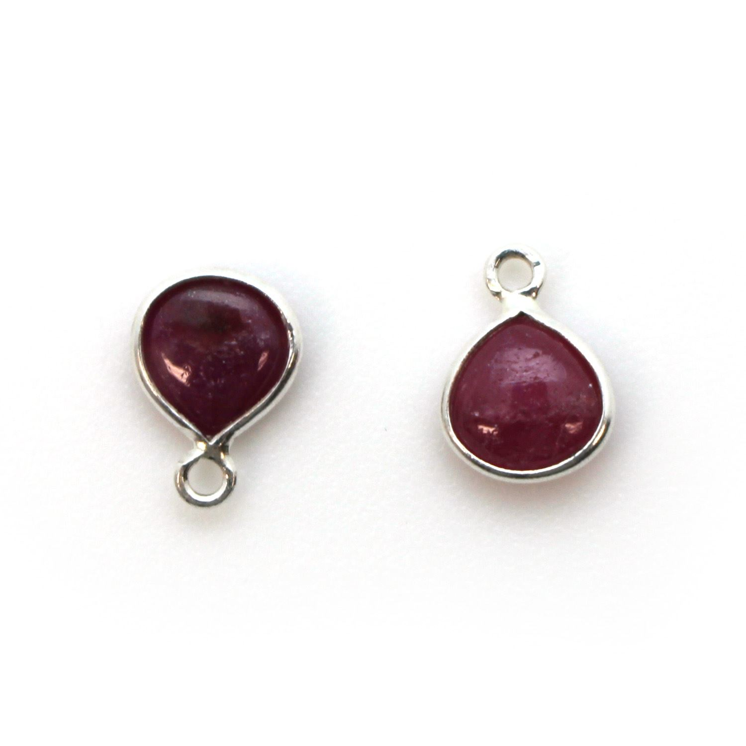 Bezel Charm Pendant - Sterling Silver Charm - Natural Ruby - Tiny Heart Shape -7mm