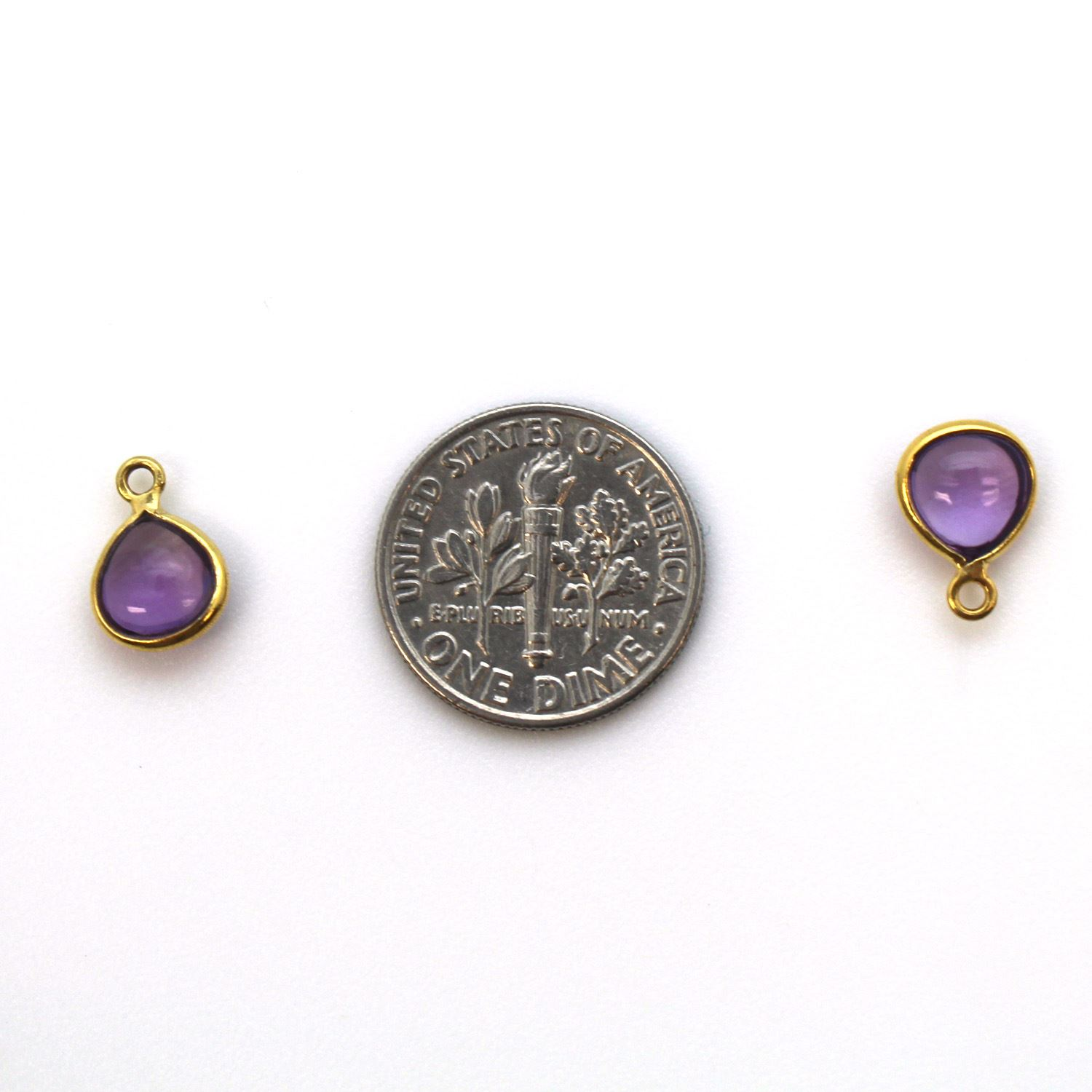Bezel Charm Pendant - Gold Plated Sterling Silver Charm - Natural Amethyst - Tiny Heart Shape -7mm