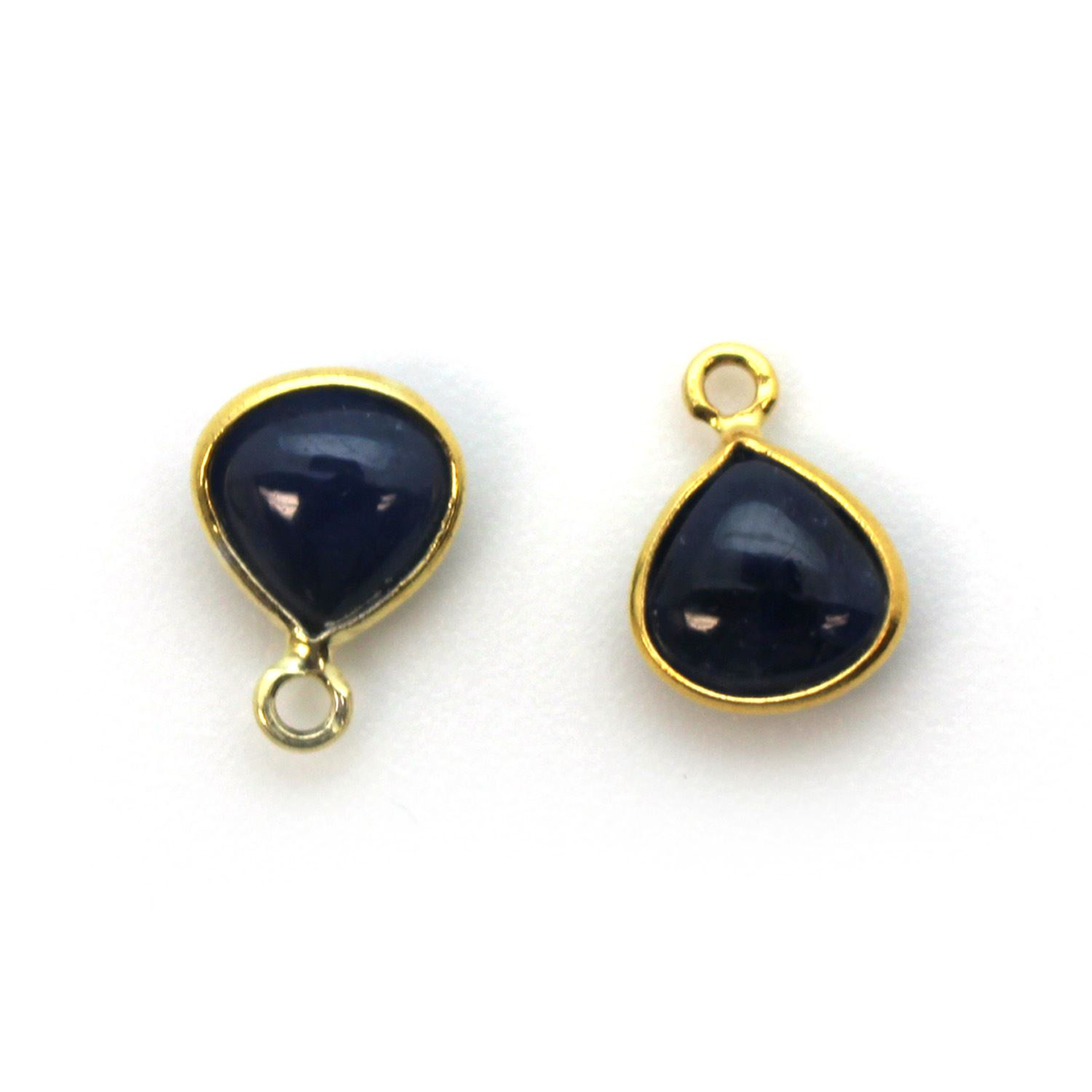 Bezel Charm Pendant - Gold Plated Sterling Silver Charm - Natural Blue Sapphire - Tiny Heart Shape -7mm