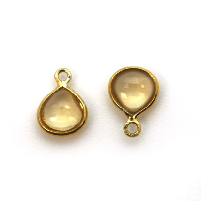 Bezel Charm Pendant - Gold Plated Sterling Silver Charm - Natural Citrine - Tiny Heart Shape -7mm