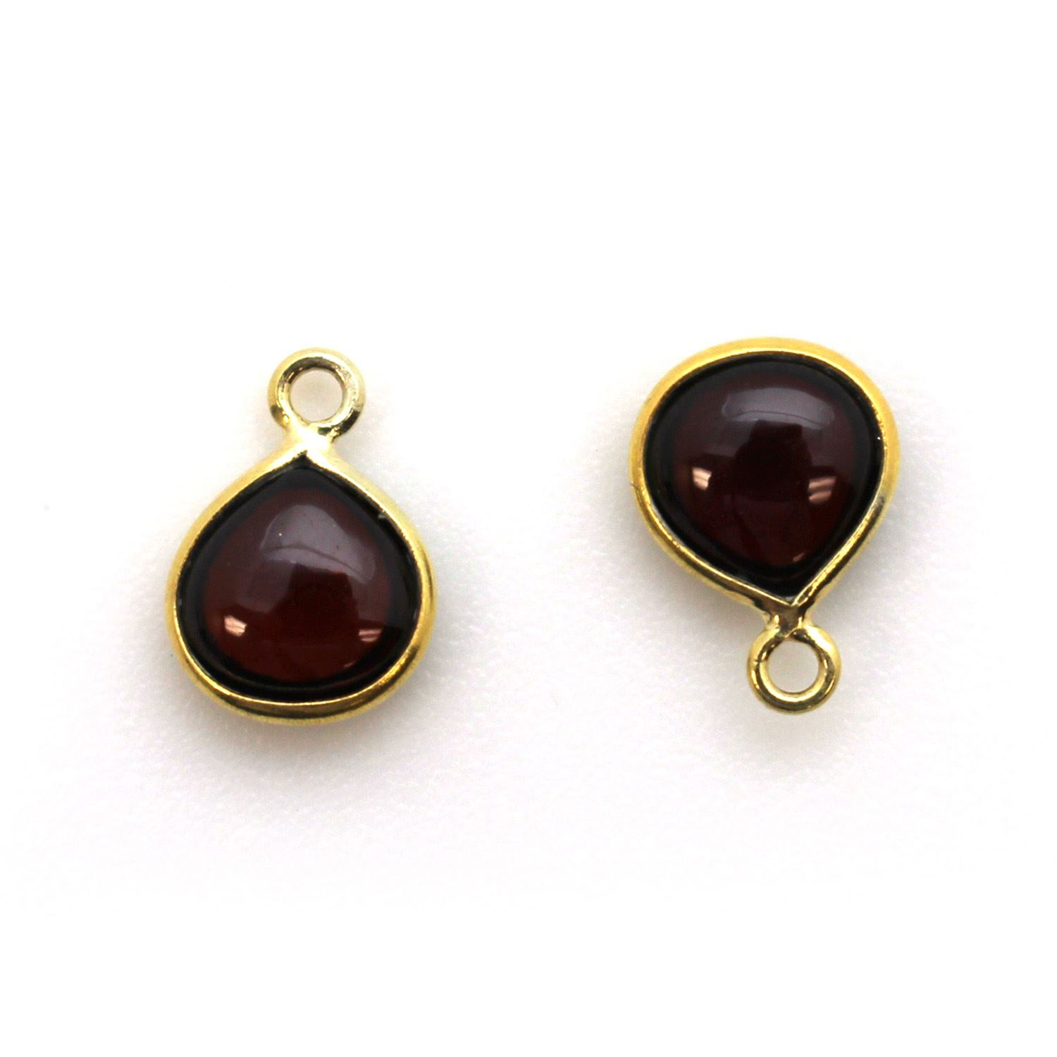 Bezel Charm Pendant - Gold Plated Sterling Silver Charm - Natural Garnet - Tiny Heart Shape -7mm