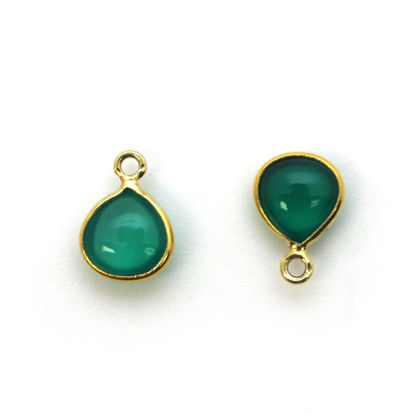Bezel Charm Pendant - Gold Plated Sterling Silver Charm - Natural Green Onyx - Tiny Heart Shape -7mm