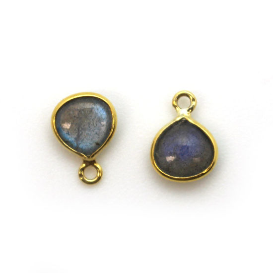 Bezel Charm Pendant - Gold Plated Sterling Silver Charm - Natural Labradorite - Tiny Heart Shape -7mm