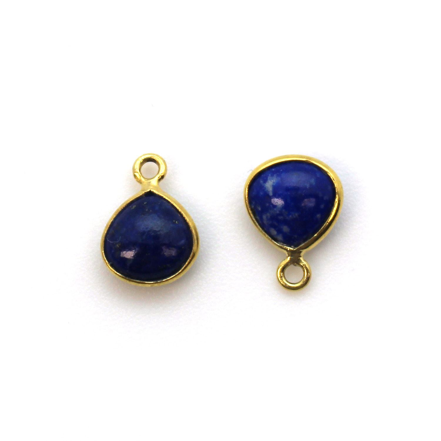 Bezel Charm Pendant - Gold Plated Sterling Silver Charm - Natural Lapis Lazuli - Tiny Heart Shape -7mm