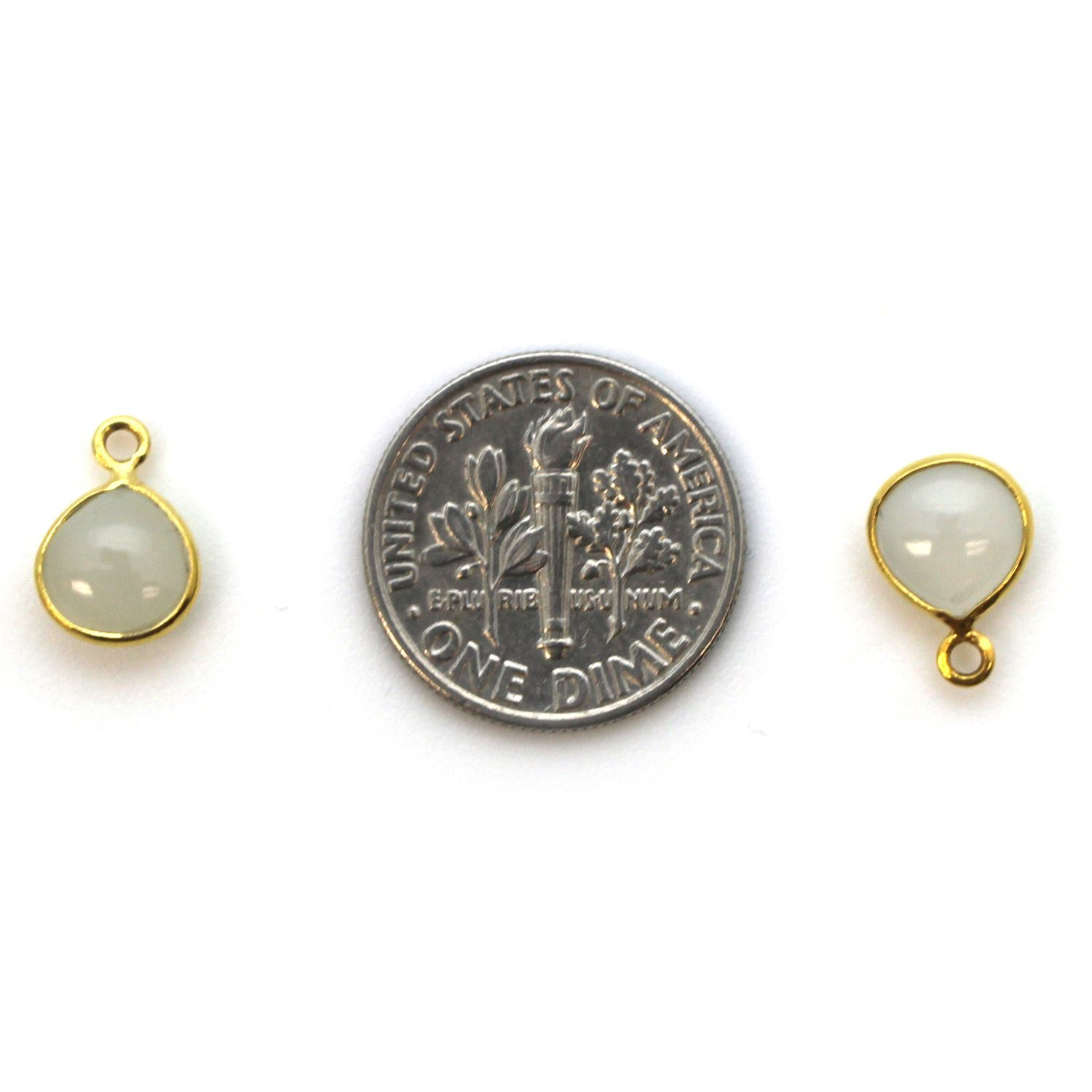 Bezel Charm Pendant - Gold Plated Sterling Silver Charm - Natural Moonstone - Tiny Heart Shape -7mm