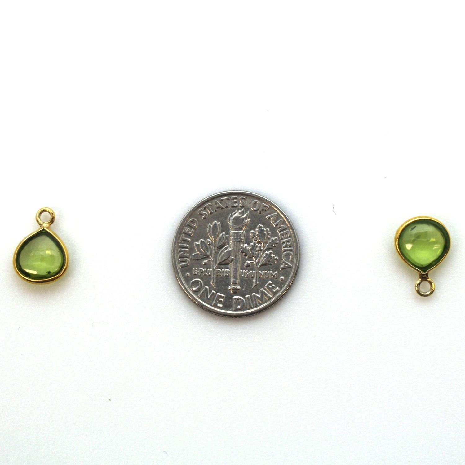 Bezel Charm Pendant - Gold Plated Sterling Silver Charm - Natural Peridot - Tiny Heart Shape -7mm