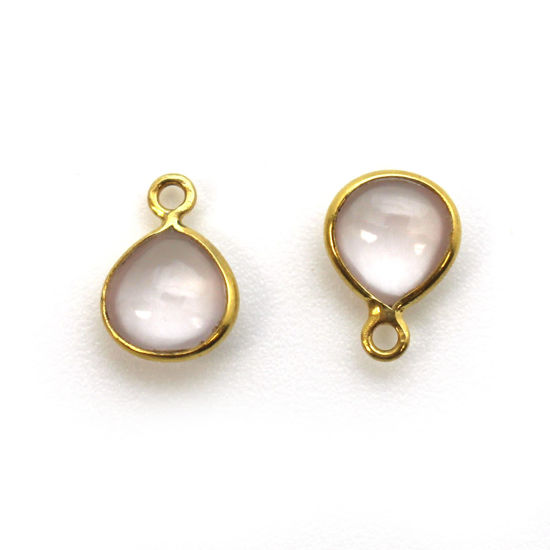 Bezel Charm Pendant - Gold Plated Sterling Silver Charm - Natural Rose Quartz - Tiny Heart Shape -7mm