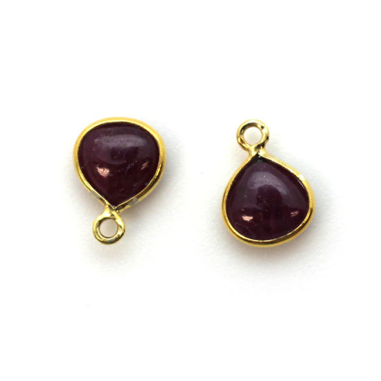 Bezel Charm Pendant - Gold Plated Sterling Silver Charm - Natural Ruby - Tiny Heart Shape -7mm