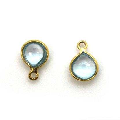 Bezel Charm Pendant - Gold Plated Sterling Silver Charm - Natural Sky Blue Topaz - Tiny Heart Shape -7mm