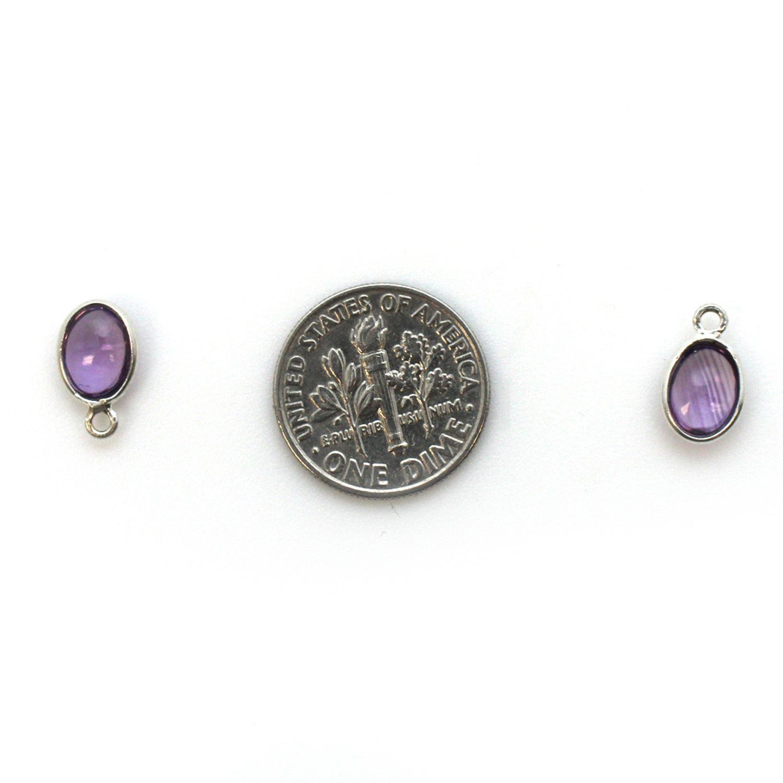 Bezel Charm Pendant - Silver Charm - Natural Amethyst-Tiny Oval Shape
