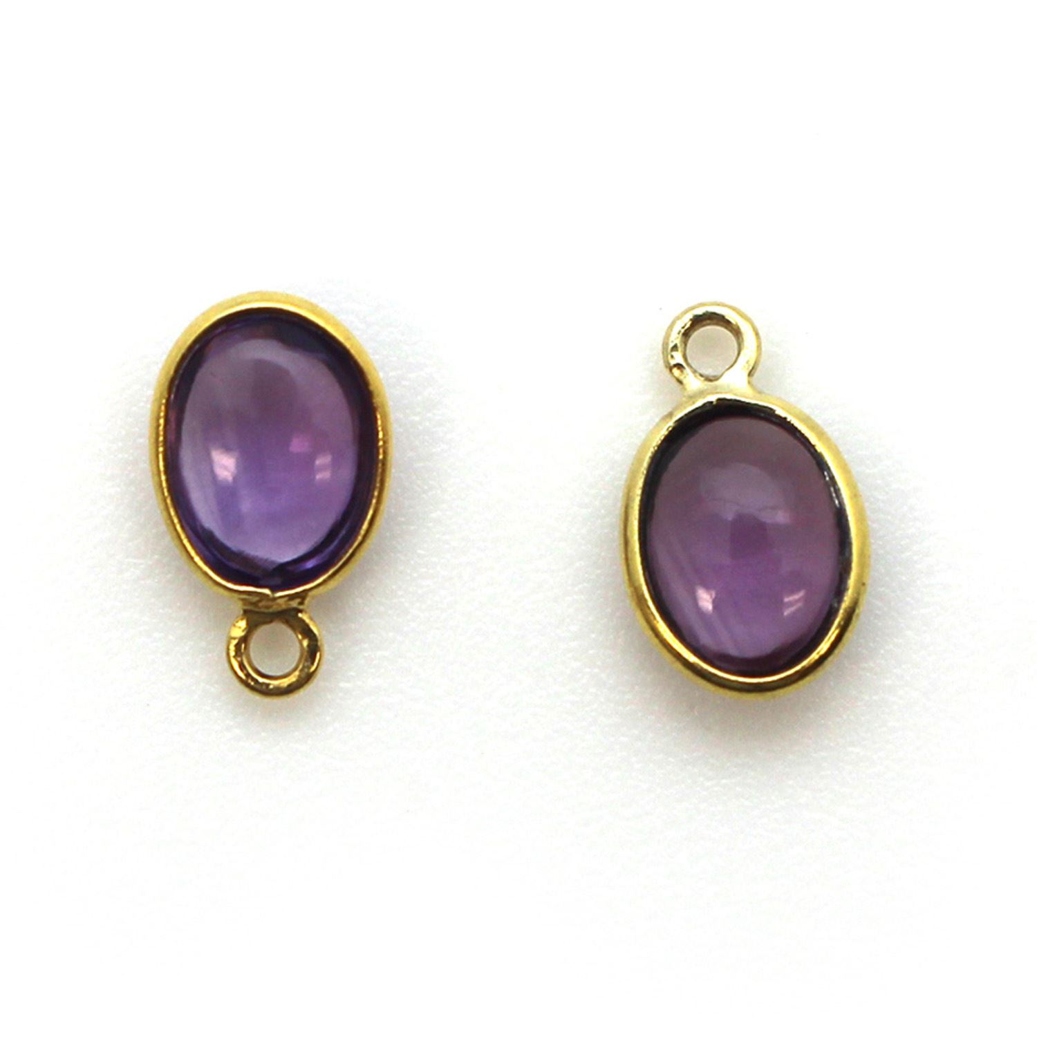 Bezel Charm Pendant - Gold Plated Silver Charm - Natural Amethyst-Tiny Oval Shape