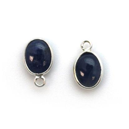 Bezel Charm Pendant - Silver Charm - Natural Blue Sapphire-Tiny Oval Shape